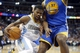 Apr 16, 2014; Denver, CO, USA; Denver Nuggets guard Aaron Brooks (0) drives to the basket during the second quarter against the Golden State Warriors at Pepsi Center. Mandatory Credit: Chris Humphreys-USA TODAY Sports