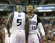 Apr 16, 2014; Sacramento, CA, USA; Sacramento Kings forward Quincy Acy (5) celebrates with guard Ben McLemore (16) after his basket and foul against the Phoenix Suns during the fourth quarter at Sleep Train Arena. The Phoenix Suns defeated the Sacramento Kings 104-99. Mandatory Credit: Kelley L Cox-USA TODAY Sports