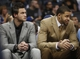 Apr 16, 2014; Denver, CO, USA; Denver Nuggets forward Danilo Gallinari (left) and center JaVale McGee (right) watch from the bench during the first quarter against the Golden State Warriors at Pepsi Center. Mandatory Credit: Chris Humphreys-USA TODAY Sports
