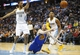 Apr 16, 2014; Denver, CO, USA; Golden State Warriors guard Steve Blake (25) loses control of the ball in front of Denver Nuggets forward Darrell Arthur (15) and guard Randy Foye (4) during the second half at Pepsi Center. The Warriors won 116-112. Mandatory Credit: Chris Humphreys-USA TODAY Sports