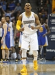 Apr 16, 2014; Denver, CO, USA; Denver Nuggets guard Randy Foye (4) reacts during the second half against the Golden State Warriors at Pepsi Center. The Warriors won 116-112. Mandatory Credit: Chris Humphreys-USA TODAY Sports