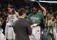 Apr 16, 2014; Boston, MA, USA; Boston Celtics forward Jeff Green (8) signs an autograph after the game against the Washington Wizards at TD Garden. Mandatory Credit: Bob DeChiara-USA TODAY Sports
