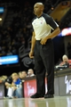 Apr 9, 2014; Cleveland, OH, USA; NBA referee Tre Maddox (73) reacts during a game between the Cleveland Cavaliers and the Detroit Pistons at Quicken Loans Arena. Cleveland won 122-100. Mandatory Credit: David Richard-USA TODAY Sports
