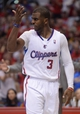 Apr 19, 2014; Los Angeles, CA, USA; Los Angeles Clippers guard Chris Paul (3) looks for a foul call in the second half of game one during the first round of the 2014 NBA Playoffs against the Golden State Warriors at Staples Center. Warriors won 109-105. Mandatory Credit: Jayne Kamin-Oncea-USA TODAY Sports
