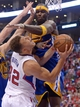 Apr 19, 2014; Los Angeles, CA, USA; Los Angeles Clippers forward Blake Griffin (32) is fouled by Golden State Warriors center Jermaine O'Neal (7) in the second half of game one during the first round of the 2014 NBA Playoffs at Staples Center. Warriors won 109-105. Mandatory Credit: Jayne Kamin-Oncea-USA TODAY Sports