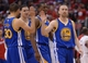 Apr 19, 2014; Los Angeles, CA, USA; Golden State Warriors guard Stephen Curry (30), guard Klay Thompson (11), forward Harrison Barnes (40) and guard Steve Blake (25) walk off the court during a time out in the fourth quarter of game one during the first round of the 2014 NBA Playoffs at Staples Center. Warriors won 109-105. Mandatory Credit: Jayne Kamin-Oncea-USA TODAY Sports