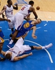 Apr 19, 2014; Los Angeles, CA, USA; Los Angeles Clippers center DeAndre Jordan (6), forward Blake Griffin (32) and Golden State Warriors guard Stephen Curry (30) go for a rebound during game one of the first round of the 2014 NBA Playoffs at Staples Center. Warriors won 109-105. Mandatory Credit: Jayne Kamin-Oncea-USA TODAY Sports