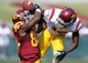 Apr 19, 2014; Los Angeles, CA, USA; Southern California cornerback Kevon Seymour (13) breaks up a pass intended for Southern California wide receiver Darreus Rogers (84) during the Southern California Spring Game at Los Angeles Memorial Coliseum. Mandatory Credit: Kelvin Kuo-USA TODAY Sports