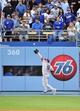 April 19, 2014; Los Angeles, CA, USA; Arizona Diamondbacks left fielder Mark Trumbo (15) catches a fly ball in the fourth inning against the Los Angeles Dodgers at Dodger Stadium. Mandatory Credit: Gary Vasquez-USA TODAY Sports
