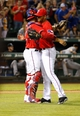 Apr 19, 2014; Arlington, TX, USA; Texas Rangers catcher Robinson Chirinos (61) and relief pitcher Joakim Soria (28) celebrate the victory against the Chicago White Sox at Globe Life Park in Arlington. Texas won 6-3. Mandatory Credit: Kevin Jairaj-USA TODAY Sports