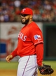 Apr 19, 2014; Arlington, TX, USA; Texas Rangers first baseman Prince Fielder (84) laughs during the game against the Chicago White Sox at Globe Life Park in Arlington. Texas won 6-3. Mandatory Credit: Kevin Jairaj-USA TODAY Sports