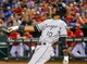 Apr 19, 2014; Arlington, TX, USA; Chicago White Sox shortstop Alexei Ramirez (10) reacts while hitting during the game against the Texas Rangers at Globe Life Park in Arlington. Texas won 6-3. Mandatory Credit: Kevin Jairaj-USA TODAY Sports