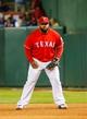 Apr 19, 2014; Arlington, TX, USA; Texas Rangers first baseman Prince Fielder (84) during the game against the Chicago White Sox at Globe Life Park in Arlington. Texas won 6-3. Mandatory Credit: Kevin Jairaj-USA TODAY Sports