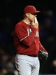 Apr 22, 2014; Chicago, IL, USA; Arizona Diamondbacks relief pitcher J.J. Putz reacts during the eighth inning against the Chicago Cubs at Wrigley Field. Mandatory Credit: Jerry Lai-USA TODAY Sports