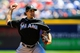 Apr 23, 2014; Atlanta, GA, USA; Miami Marlins starting pitcher Nate Eovaldi (24) pitches in the third inning against the Atlanta Braves at Turner Field. Mandatory Credit: Daniel Shirey-USA TODAY Sports
