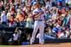 Apr 23, 2014; Atlanta, GA, USA; Atlanta Braves relief pitcher Craig Kimbrel (46) celebrates beating the Miami Marlins at Turner Field. The Braves won 3-1. Mandatory Credit: Daniel Shirey-USA TODAY Sports