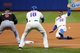 Apr 26, 2014; New York, NY, USA; New York Mets left fielder Eric Young Jr. (22) advances to third on a throwing error during the first inning against the Miami Marlins at Citi Field. Mandatory Credit: Anthony Gruppuso-USA TODAY Sports