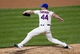 Apr 26, 2014; New York, NY, USA; New York Mets relief pitcher Kyle Farnsworth (44) pitches during the tenth inning against the Miami Marlins at Citi Field. Miami Marlins won 7-6 in ten innings. Mandatory Credit: Anthony Gruppuso-USA TODAY Sports