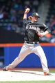 Apr 27, 2014; New York, NY, USA; Miami Marlins starting pitcher Tom Koehler (34) pitches against the New York Mets during the second inning of a game at Citi Field. Mandatory Credit: Brad Penner-USA TODAY Sports