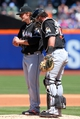 Apr 27, 2014; New York, NY, USA; Miami Marlins catcher Jarrod Saltalamacchia (39) talks to Miami Marlins starting pitcher Tom Koehler (34) on the mound during the second inning of a game against the New York Mets at Citi Field. Mandatory Credit: Brad Penner-USA TODAY Sports