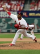 Apr 27, 2014; St. Louis, MO, USA; St. Louis Cardinals relief pitcher Carlos Martinez (44) throws to a Pittsburgh Pirates batter during the ninth inning at Busch Stadium. St. Louis defeated Pittsburgh 7-0. Mandatory Credit: Jeff Curry-USA TODAY Sports
