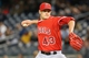 Apr 27, 2014; Bronx, NY, USA;  Los Angeles Angels starting pitcher Garrett Richards (43) works during the first inning against the New York Yankees at Yankee Stadium. Mandatory Credit: Anthony Gruppuso-USA TODAY Sports