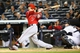 Apr 27, 2014; Bronx, NY, USA;  Los Angeles Angels left fielder Collin Cowgill (7) hits a ground rule double to left during the third inning against the New York Yankees at Yankee Stadium. Mandatory Credit: Anthony Gruppuso-USA TODAY Sports