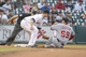 Apr 29, 2014; Houston, TX, USA; Washington Nationals catcher Jose Lobaton (59) is thrown out a third base during the third inning as Houston Astros third baseman Matt Dominguez (30) applies the tag at Minute Maid Park. Mandatory Credit: Troy Taormina-USA TODAY Sports