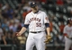 Apr 29, 2014; Houston, TX, USA; Houston Astros relief pitcher Chad Qualls (50) reacts after striking out a hitter during the eighth inning against the Washington Nationals at Minute Maid Park. Mandatory Credit: Troy Taormina-USA TODAY Sports