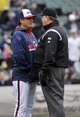 Apr 30, 2014; Chicago, IL, USA;  Chicago White Sox manager Robin Ventura (23) argues a call with umpire Jerry Layne (24) during the third inning against the Detroit Tigers at U.S Cellular Field. Mandatory Credit: David Banks-USA TODAY Sports