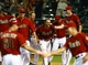 Apr 30, 2014; Phoenix, AZ, USA; Arizona Diamondbacks catcher Miguel Montero is congratulated after hitting a walk off home run in the tenth inning against the Colorado Rockies at Chase Field. Mandatory Credit: Mark J. Rebilas-USA TODAY Sports