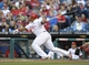 May 2, 2014; Philadelphia, PA, USA; Philadelphia Phillies right fielder Marlon Byrd (3) hits a three run home run against the Washington Nationals in the first inning at Citizens Bank Park. Mandatory Credit: Eric Hartline-USA TODAY Sports