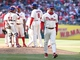 May 4, 2014; Philadelphia, PA, USA; Philadelphia Phillies manager Ryne Sandberg (23) walks back from the mound after making a pitching change in the 8th inning of a game against the Washington Nationals at Citizens Bank Park.  The Phillies defeated the Nationals 1-0. Mandatory Credit: Bill Streicher-USA TODAY Sports