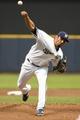 May 5, 2014; Milwaukee, WI, USA;  Milwaukee Brewers pitcher Matt Garza (22) pitches in the first inning against the Arizona Diamondbacks at Miller Park. Mandatory Credit: Benny Sieu-USA TODAY Sports