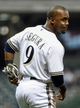 May 5, 2014; Milwaukee, WI, USA;   Milwaukee Brewers shortstop Jean Segura (9) wears  bandages under his right eye during the game against the Arizona Diamondbacks after he was accidentally hit by a bat at week ago at Miller Park. Mandatory Credit: Benny Sieu-USA TODAY Sports