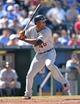 May 4, 2014; Kansas City, MO, USA; Detroit Tigers right fielder Torii Hunter (48) at bat against the Kansas City Royals during the eighth inning at Kauffman Stadium. Mandatory Credit: Peter G. Aiken-USA TODAY Sports