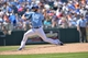 May 4, 2014; Kansas City, MO, USA; Kansas City Royals pitcher Tim Collins (55) delivers a pitch against the Detroit Tigers during the seventh inning at Kauffman Stadium. Mandatory Credit: Peter G. Aiken-USA TODAY Sports