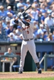 May 4, 2014; Kansas City, MO, USA; Detroit Tigers third basemen Nick Castellanos (9) at bat against the Kansas City Royals during the seventh inning at Kauffman Stadium. Mandatory Credit: Peter G. Aiken-USA TODAY Sports
