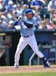 May 4, 2014; Kansas City, MO, USA; Kansas City Royals second basemen Omar Infante (14) at bat against the Detroit Tigers during the sixth inning at Kauffman Stadium. Mandatory Credit: Peter G. Aiken-USA TODAY Sports