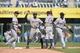 May 4, 2014; Kansas City, MO, USA; Detroit Tigers players Andrew Romine (27), Rajai Davis (20), Ian Kinsler (3) and Torii Hunter (48) celebrate after beating the Kansas City Royals at Kauffman Stadium. The Tigers beat the Royals 9-4. Mandatory Credit: Peter G. Aiken-USA TODAY Sports