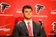 May 9, 2014; Atlanta, GA, USA; Atlanta Falcons first round draft pick tackle Jake Matthews (Texas A&M) reacts during a press conference at Falcons Training Facility. Mandatory Credit: Dale Zanine-USA TODAY Sports