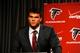 May 9, 2014; Atlanta, GA, USA; Atlanta Falcons first round draft pick tackle Jake Matthews (Texas A&M) speaks during a press conference at Falcons Training Facility. Mandatory Credit: Dale Zanine-USA TODAY Sports
