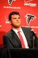 May 9, 2014; Atlanta, GA, USA; Atlanta Falcons first round draft pick tackle Jake Matthews (Texas A&M) during a press conference at Falcons Training Facility. Mandatory Credit: Dale Zanine-USA TODAY Sports