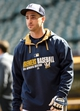 May 10, 2014; Milwaukee, WI, USA;  Milwaukee Brewers right fielder Ryan Braun, who is on the disable list, watches batting practice before game against the New York Yankees at Miller Park. Mandatory Credit: Benny Sieu-USA TODAY Sports