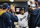 May 10, 2014; Milwaukee, WI, USA; Milwaukee Brewers center fielder Carlos Gomez (27) is greeted in the dugout after hitting a solo home run in the first inning against the New York Yankees at Miller Park. Mandatory Credit: Benny Sieu-USA TODAY Sports