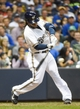 May 10, 2014; Milwaukee, WI, USA;  Milwaukee Brewers second baseman Rickie Weeks (23) hits a single to drive in a run in the seventh inning against the New York Yankees at Miller Park. Mandatory Credit: Benny Sieu-USA TODAY Sports