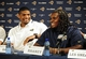 May 13, 2014; St. Louis, MO, USA; St. Louis Rams seventh round pick defensive end Michael Sam (left) jokes around with seventh round pick offensive lineman Demetrius Rhaney during a press conference at Rams Park. Mandatory Credit: Jeff Curry-USA TODAY Sports