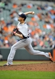 May 14, 2014; Baltimore, MD, USA; Detroit Tigers pitcher Joe Nathan (36) pitches in the ninth inning against the Baltimore Orioles at Oriole Park at Camden Yards. The Tigers defeated the Orioles 7-5 completing the three game sweep. Mandatory Credit: Joy R. Absalon-USA TODAY Sports