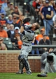 May 14, 2014; Baltimore, MD, USA; Detroit Tigers catcher Bryan Holaday (50) catches a pop-up by Baltimore Orioles left fielder David Lough (not shown) in the sixth inning at Oriole Park at Camden Yards. The Tigers defeated the Orioles 7-5 completing the three game sweep. Mandatory Credit: Joy R. Absalon-USA TODAY Sports