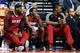 Mar 28, 2014; Auburn Hills, MI, USA; Miami Heat forward LeBron James (6) guard Toney Douglas (0) center Chris Bosh (1) sits on the bench against the Detroit Pistons at The Palace of Auburn Hills. Mandatory Credit: Rick Osentoski-USA TODAY Sports